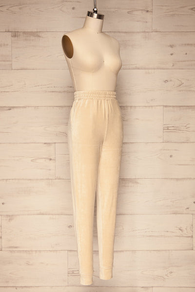 Agnone Beige Stretchy Corduroy Lounge Pants side view | La Petite Garçonne