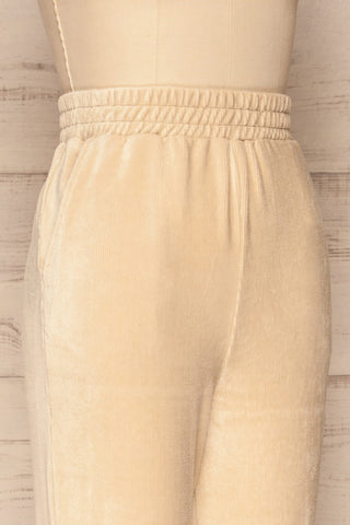 Agnone Beige Stretchy Corduroy Lounge Pants side close up | La Petite Garçonne