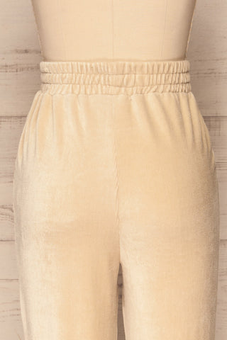 Agnone Beige Stretchy Corduroy Lounge Pants back close up | La Petite Garçonne