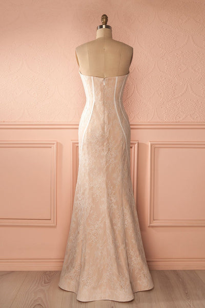 Agostina - Ivory and dusty pink lace bustier gown