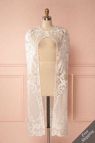 Agota Day White Embroidered Lace Cape | Boudoir 1861