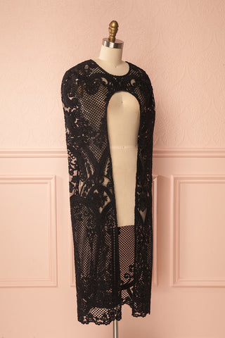 Agota Night Black Embroidered Lace Cape | Boutique 1861 4