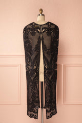 Agota Night Black Embroidered Lace Cape | Boutique 1861