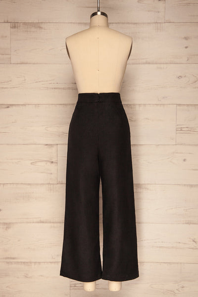 Agoyan Black High Waisted Flared Leg Pants | La Petite Garçonne