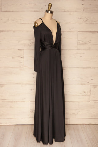Agras Black Satin Off-Shoulder Maxi Dress | La Petite Garçonne 2