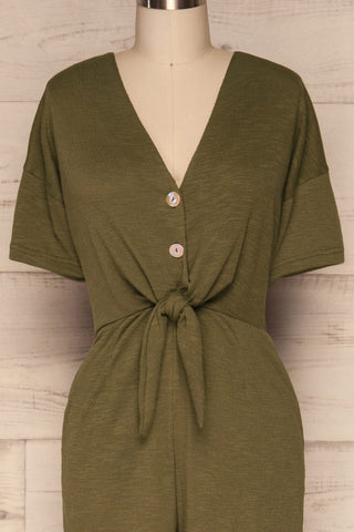 Aguayacu Khaki Green Wide Leg Jumpsuit  | FRONT CLOSE UP | La Petite Garçonne