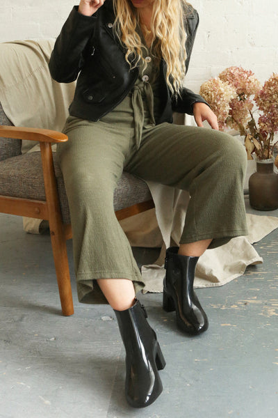 Aguayacu Khaki Green Wide Leg Jumpsuit | La Petite Garçonne on model