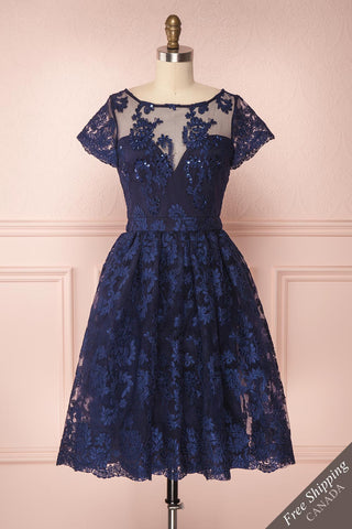 Agun Bleu Navy Blue Floral Embroidered A-Line Dress | Boutique 1861