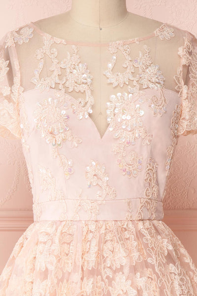 Agun Rose Pink Floral Embroidered A-Line Dress | Boutique 18613