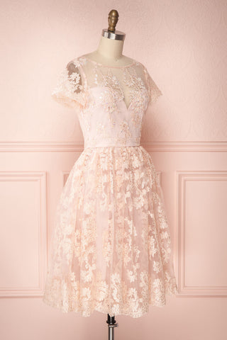 Agun Rose Pink Floral Embroidered A-Line Dress | Boutique 1861 4
