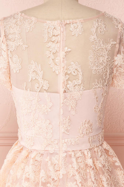 Agun Rose Pink Floral Embroidered A-Line Dress | Boutique 1861 7