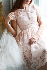 Agun Rose Pink Floral Embroidered A-Line Dress | Boutique 1861