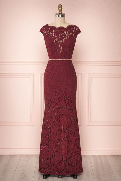 Ahouva Burgundy Lace Short Sleeved Mermaid Gown | Boutique 1861