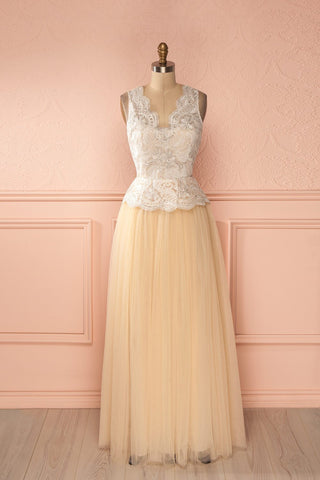 Aileend - Beige glimmering lace and tulle gown