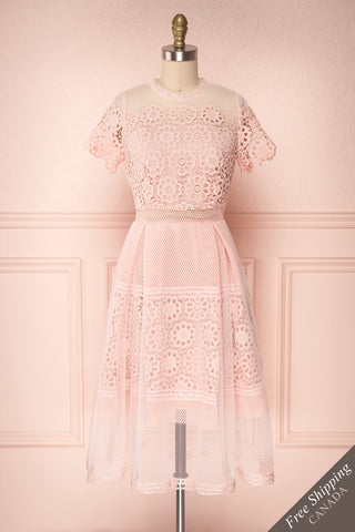 Ailite Aube Pink Lace & Mesh A-Line Midi Dress | Boutique 1861