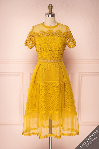 Ailite Soleil Yellow Lace & Mesh A-Line Midi Dress | Boutique 1861