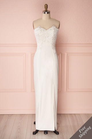 Ailys Jour White Embroidered Fitted Bustier Dress | Boudoir 1861
