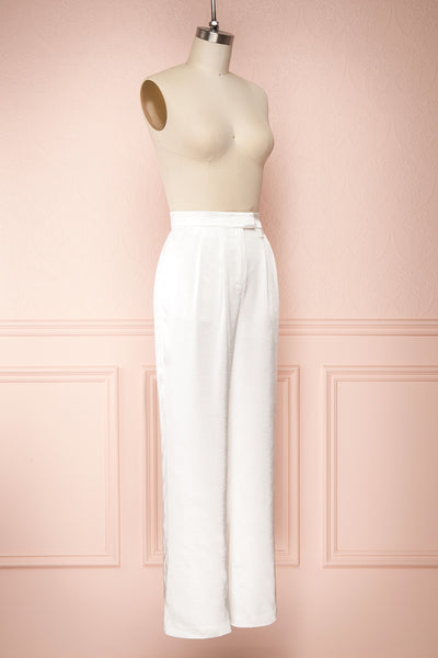Ainsley White Silky Wide Leg Pants | Boudoir 1861 side view