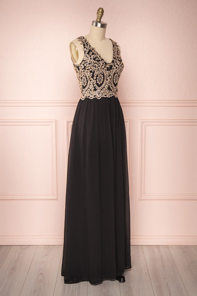 Akar Noir Black Chiffon Gown with Gold Appliqués | Boutique 1861 3