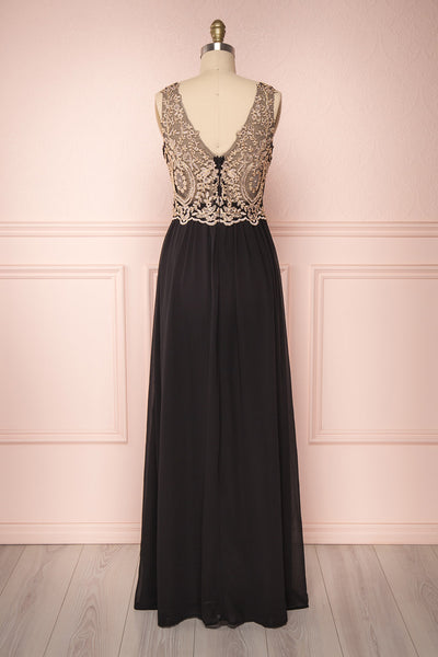 Akar Noir Black Chiffon Gown with Gold Appliqués | Boutique 1861 5