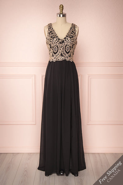 Akar Noir Black Chiffon Gown with Gold Appliqués | Boutique 1861 1