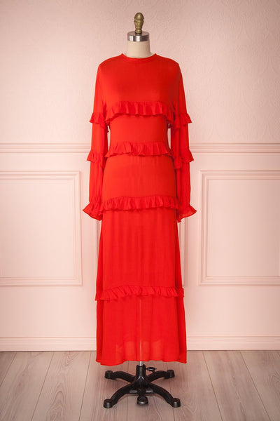 Akbar Red Ruffled Maxi Dress with Puff Sleeves | Boutique 1861 1