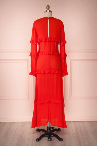 Akbar Red Ruffled Maxi Dress with Puff Sleeves | Boutique 1861 5