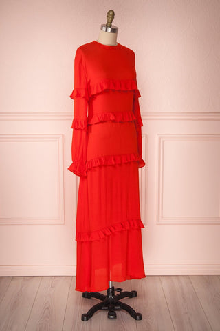 Akbar Red Ruffled Maxi Dress with Puff Sleeves | Boutique 1861 3