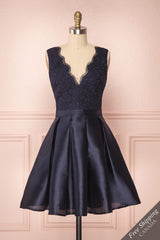 Alaine Navy Blue Floral Embroidered Short A-Line Dress | Boutique 1861