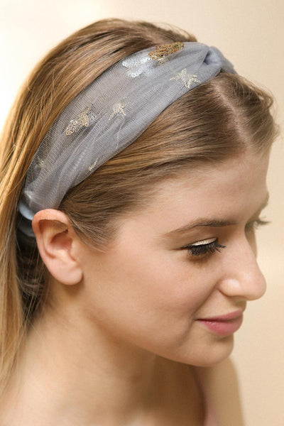 Alausa Grey Tulle Headband with Sequin Stars | Boutique 1861 2