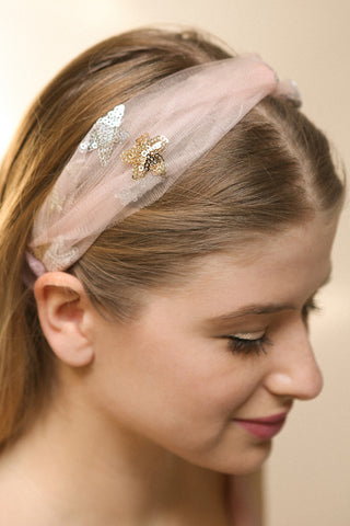Alausa Pink Tulle Headband with Sequin Stars | Boutique 1861 2