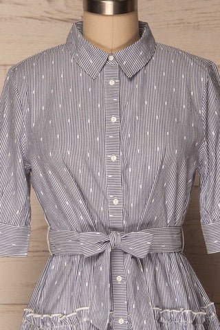 Alcester White & Blue Striped Ruffled Shirt Dress | La Petite Garçonne 2