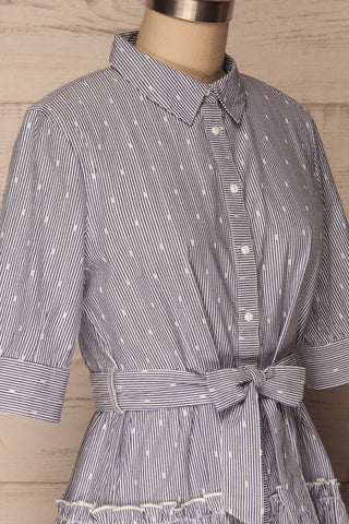 Alcester White & Blue Striped Ruffled Shirt Dress | La Petite Garçonne 4