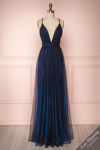 Alecta Marine Blue Mesh Gown with Plunging Neckline | Boutique 1861