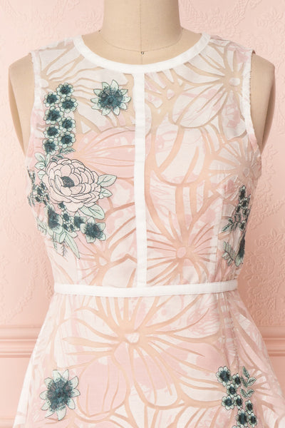 Alethea Pink & White Embroidered A-Line Midi Dress | Boutique 1861 2