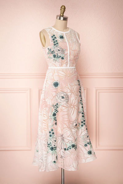 Alethea Pink & White Embroidered A-Line Midi Dress | Boutique 1861 3