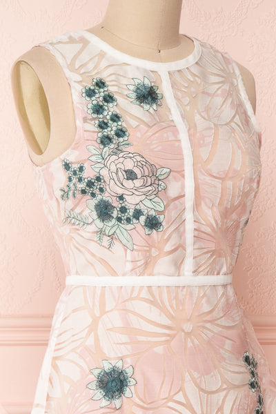 Alethea Pink & White Embroidered A-Line Midi Dress | Boutique 1861 4