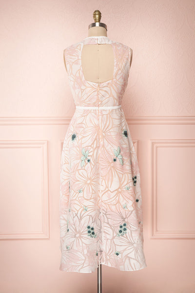 Alethea Pink & White Embroidered A-Line Midi Dress | Boutique 1861 5