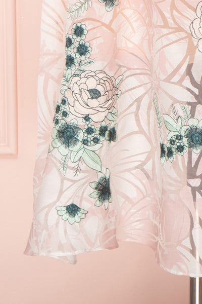 Alethea Pink & White Embroidered A-Line Midi Dress | Boutique 1861 7
