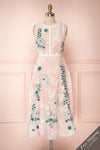 Alethea Pink & White Embroidered A-Line Midi Dress | Boutique 1861