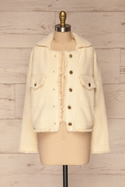 Alfonsia Cream White Buttoned Fuzzy Jacket | La petite garçonne front view open