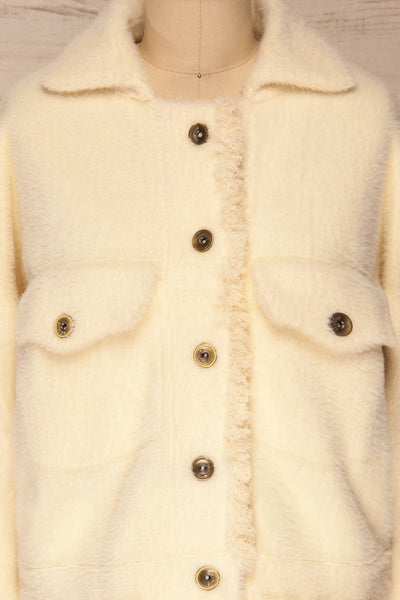 Alfonsia Cream White Buttoned Fuzzy Jacket | La petite garçonne front close-up