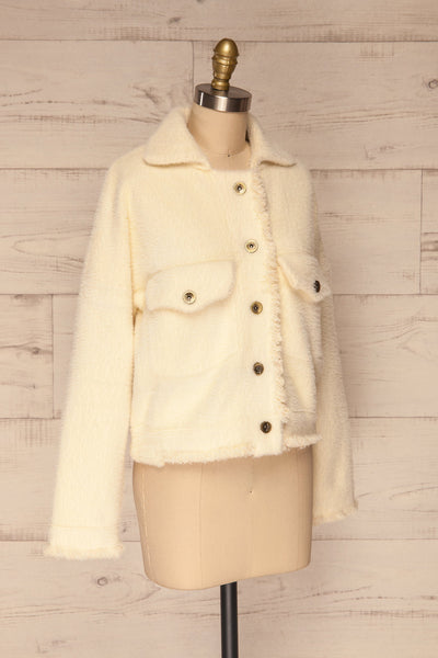 Alfonsia Cream White Buttoned Fuzzy Jacket | La petite garçonne side view