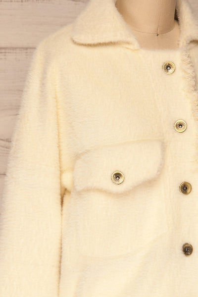 Alfonsia Cream White Buttoned Fuzzy Jacket | La petite garçonne side close-up