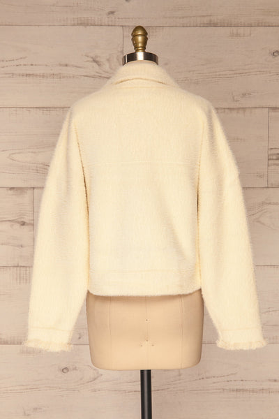 Alfonsia Cream White Buttoned Fuzzy Jacket | La petite garçonne back view