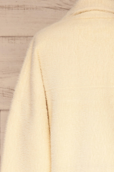 Alfonsia Cream White Buttoned Fuzzy Jacket | La petite garçonne back close-up