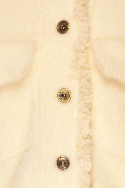 Alfonsia Cream White Buttoned Fuzzy Jacket | La petite garçonne fabric