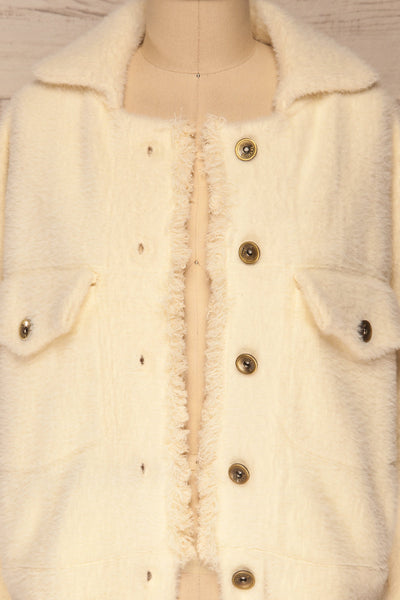 Alfonsia Cream White Buttoned Fuzzy Jacket | La petite garçonne front close-up open