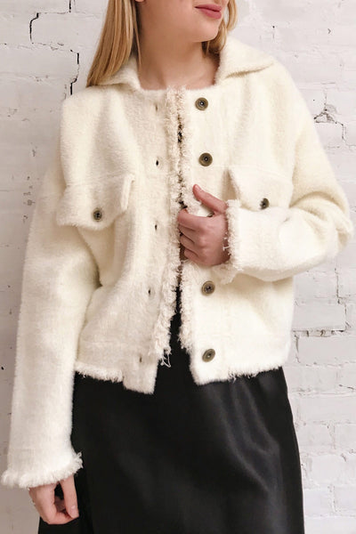 Alfonsia Cream White Buttoned Fuzzy Jacket | La petite garçonne model close up