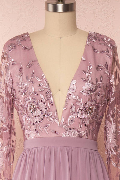 Aliana Mauve Lilac Floral Embroidered A-Line Gown face close up | Boutique 1861